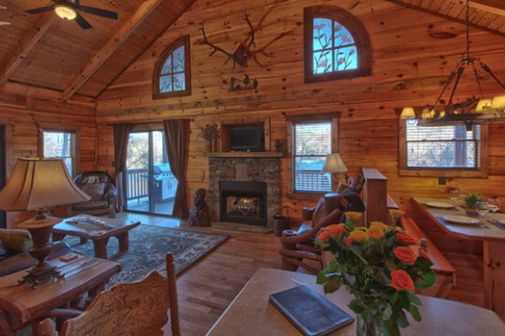 All-Wood Interior with High Ceilings, Stained Glass Windows & Gas Log Fireplace