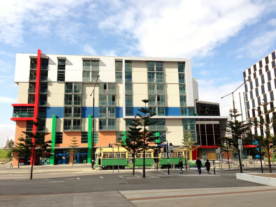 The building, FREE trams to city stop at the front door.