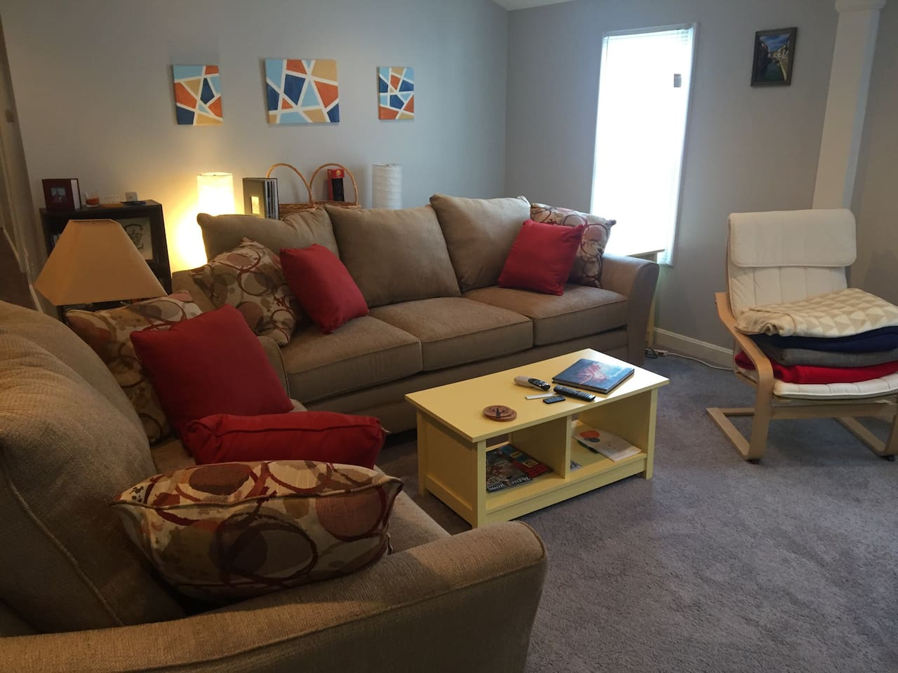 Living room with new (June 2016) sofa and loveseat. Sofa is oversized, perfect for someone to sleep on