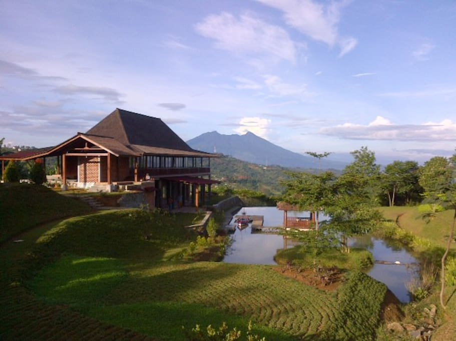 The view of Mount Salak and owner's house.