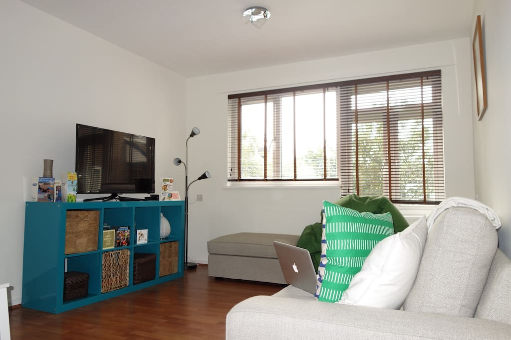 Bright, living room, clean and modern.