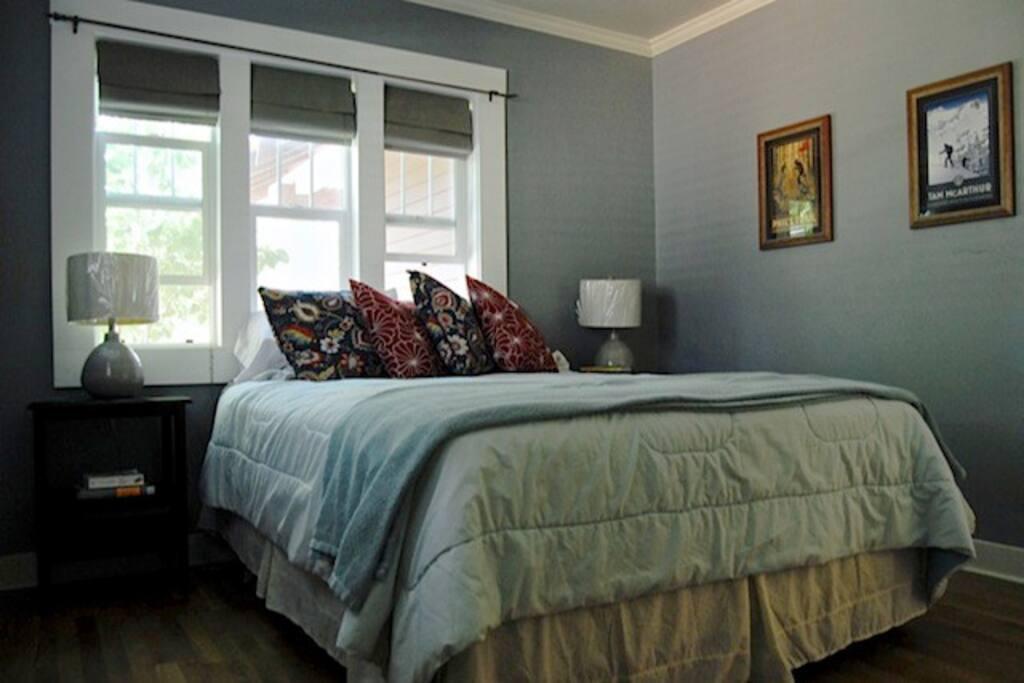 Front bedroom, lots of light, new queen beds in both rooms!