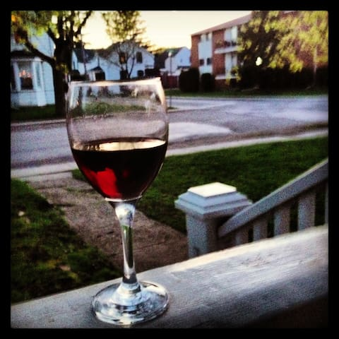 Enjoy your evenings with a glass of wine on the porch.