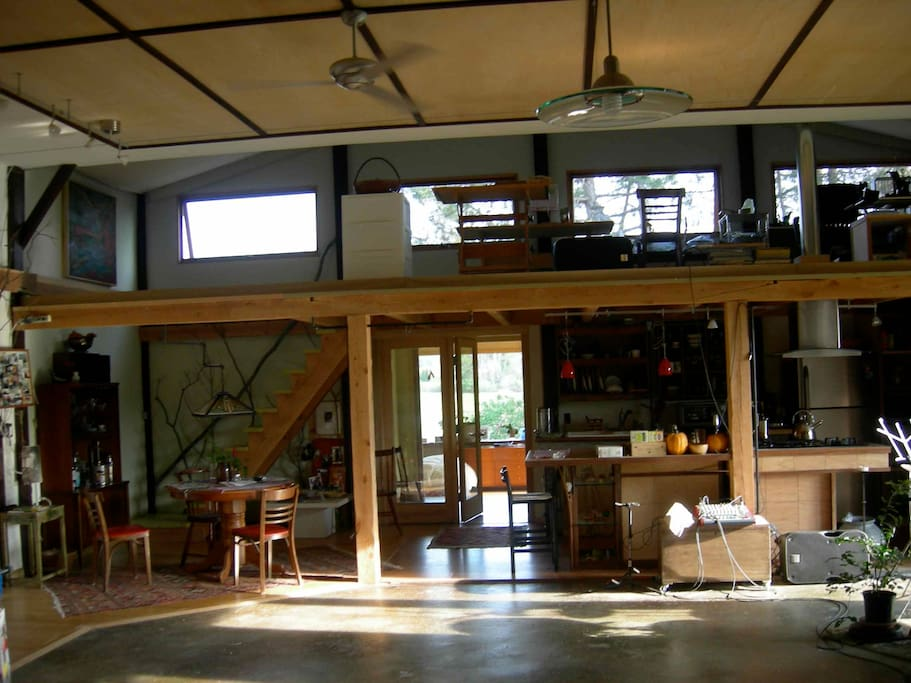 1000 sq. ft. studio with loft overlooking living roof  and galley kitchen below