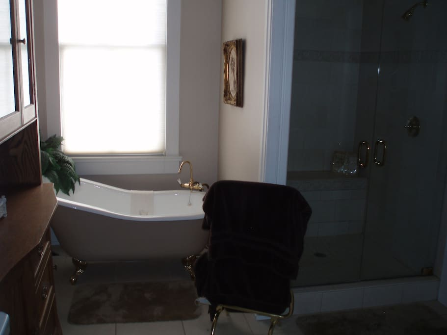 Large Private Bath - Soaking Tub, Double Shower with Floor to Ceiling Glass Doors and Seat, Towel Warmer, with seperate Private Toilet Room