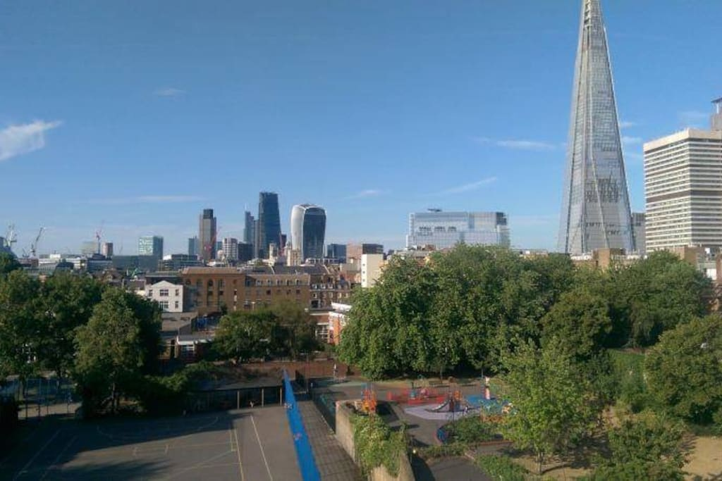 Amazing views of the Shard and Central London from both bedrooms.