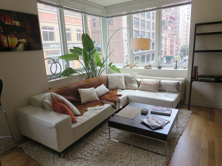 Large Living room with Wrap-around Windows