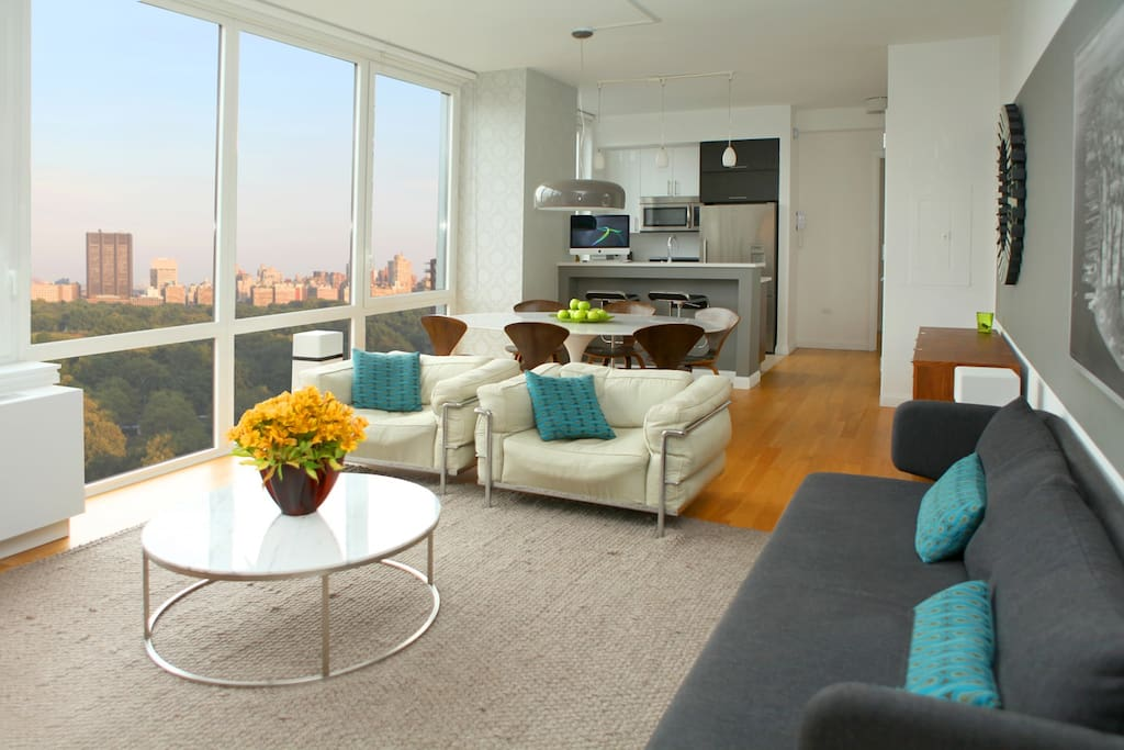 Integrated Living-dining room with Central Park views