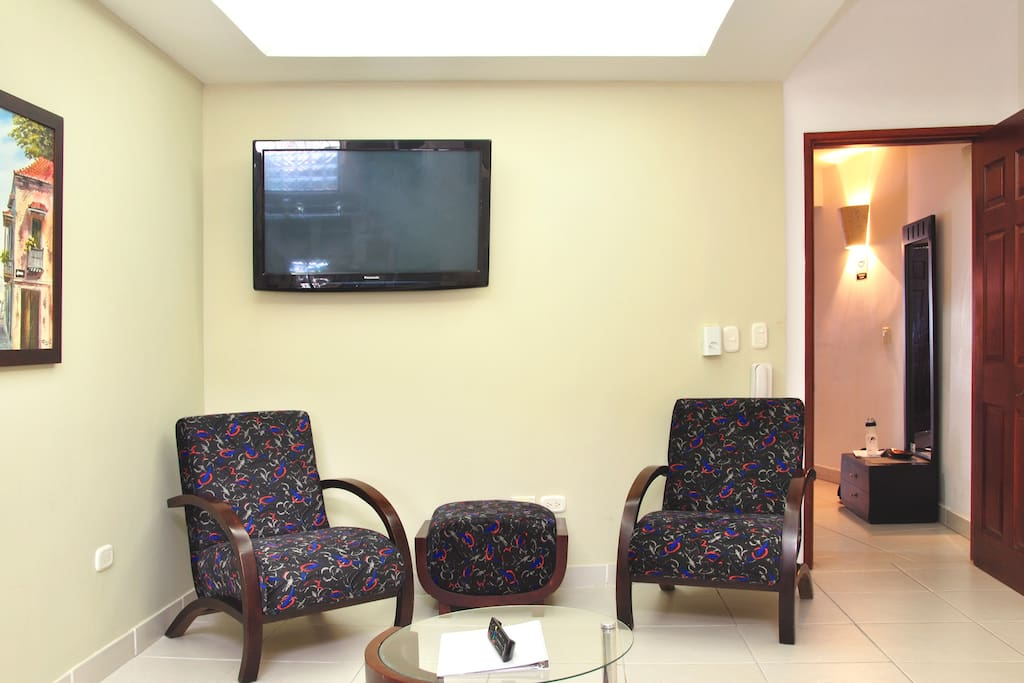We have cable TV in every room, and a washer and dryer are just outside your front door.