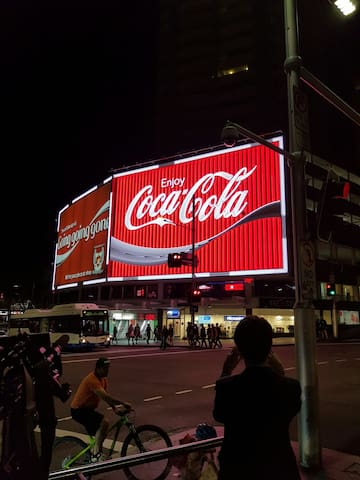 60 metres from the famous Coca-Cola sign