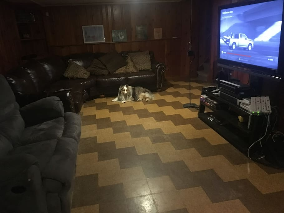 """Man Cave"" with several sofas, lazy boy chair, TV, Refrigerator"