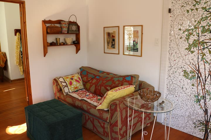 Cosy corner with hand-printed couch