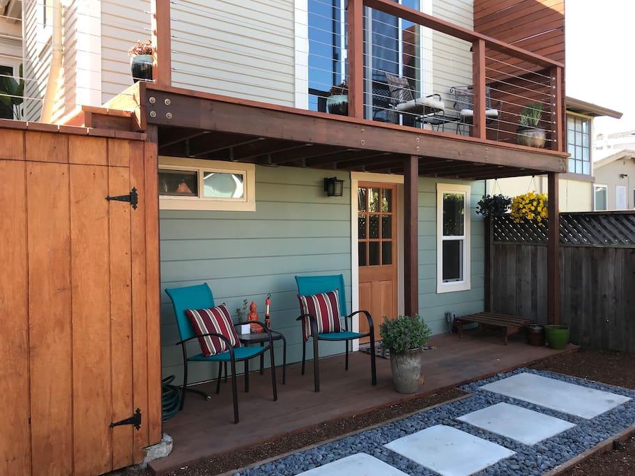 Private porch for visitors to the unit.