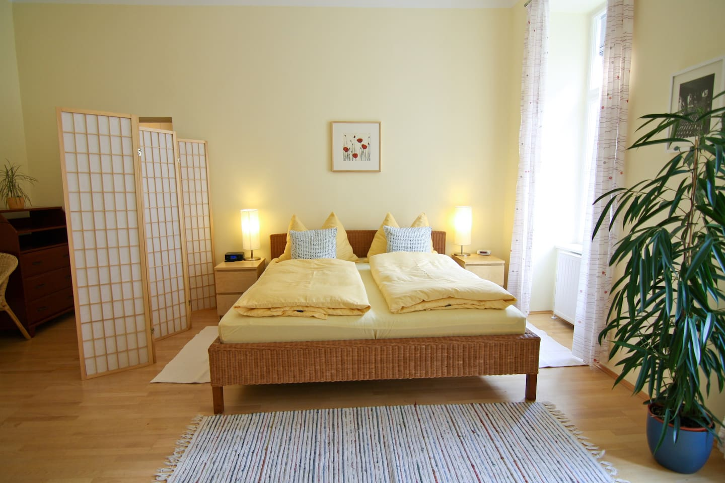 big bed and living room with double bed