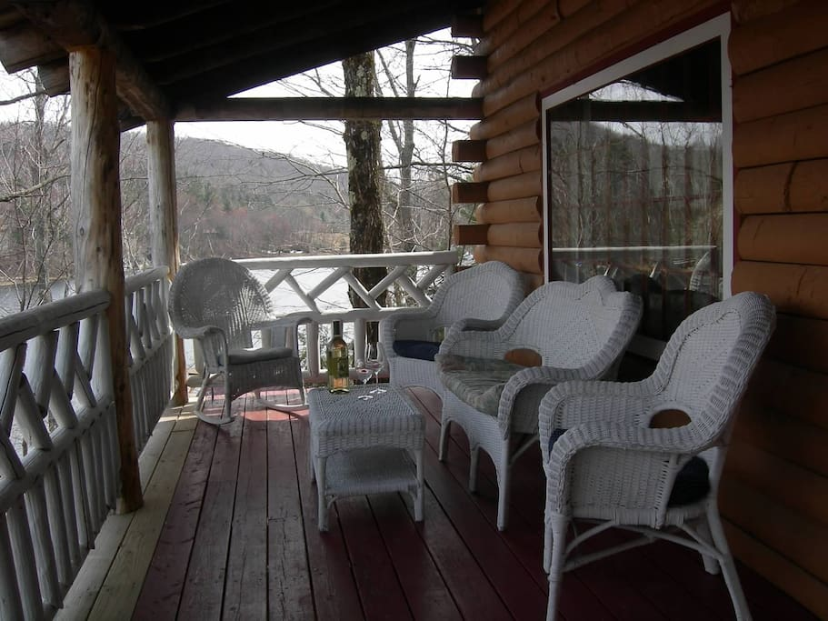 Front porch overlooking lake