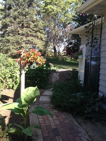 beautiful backyard garden area