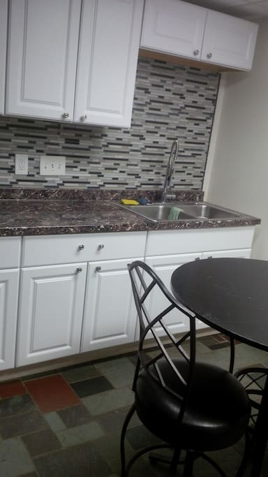 Kitchenette Incl. coffee maker, Dishes, ToasterSilverware, Coffee Cups, Keurig, cooking ppot/pan., T