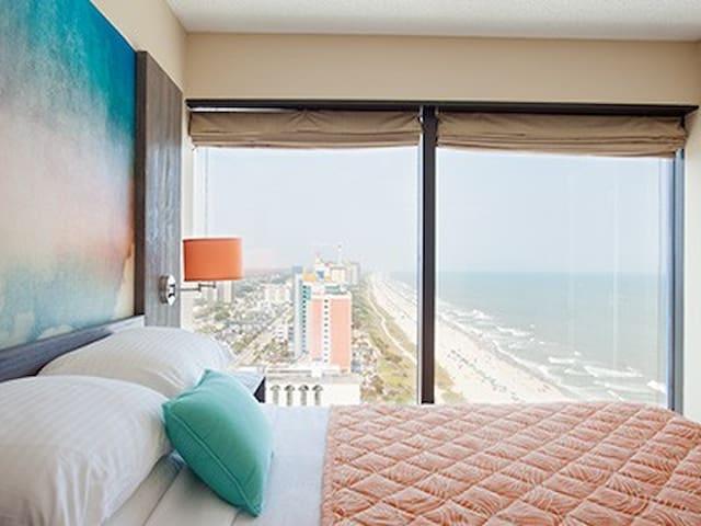 Panoramic view from bedroom; Queen bed in bedroom.