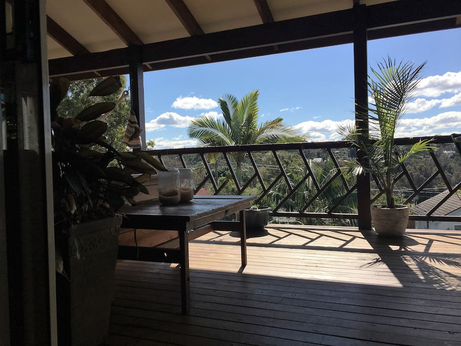 Huge Decks surround the house. The two bedrooms also share a balcony with a daybed!