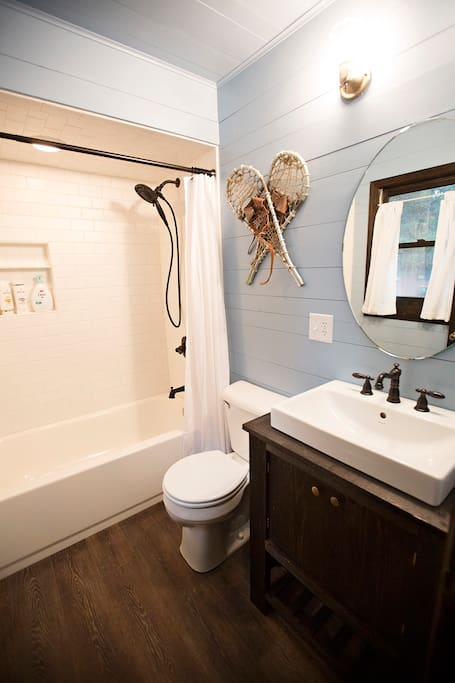Shared bathroom just across the hall from your bedroom.