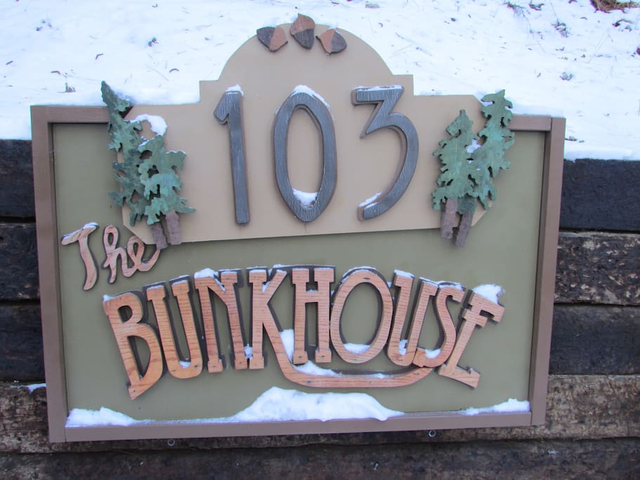 The Bunkhouse has a convenient parking area in front of the cabin.