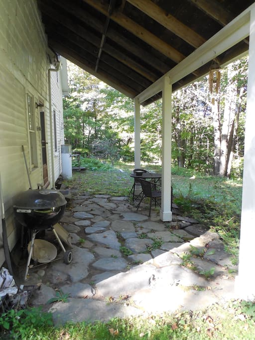 Rear private patio, listen to the brook.