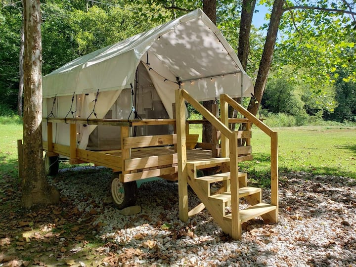 "The ""boho"" glamp wagon! River front in the RRG!"