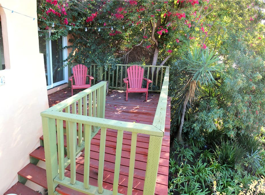 In a lush garden setting, a charming 1BR 1B California Spanish style duplex apt. Enjoy sunset cocktails on your private perch