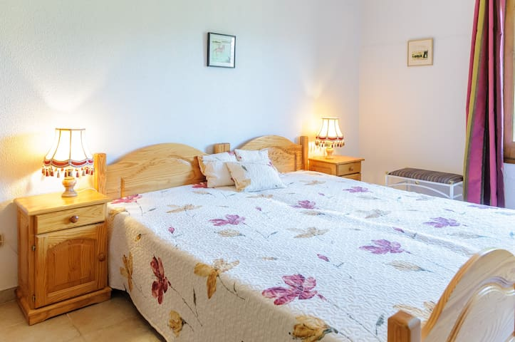 The first bedroom, you can have both a double or 2 single beds. There is all the necessary bedding, pillows, extra pillows, extra blankets, for children there is a separate bedding for both boys and girls.