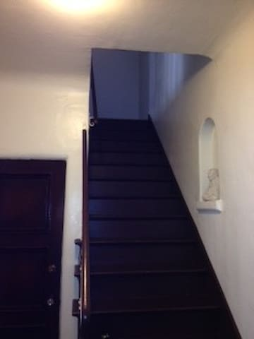 Stairs going up to the second floor.