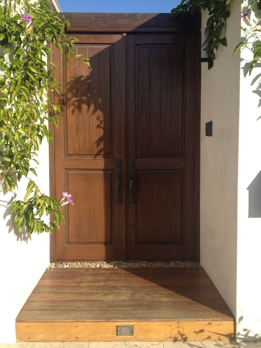 Front  gate to villa, with intercom and cameras.