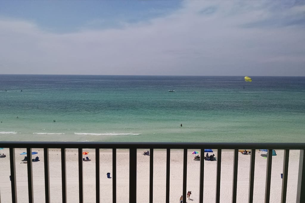 Balcony overlooking the white sand beach and Gulf of Mexico.  See the sunrise and sunset from here.  No obstructed view.   The fishing pier can be seen in the distance, as well.