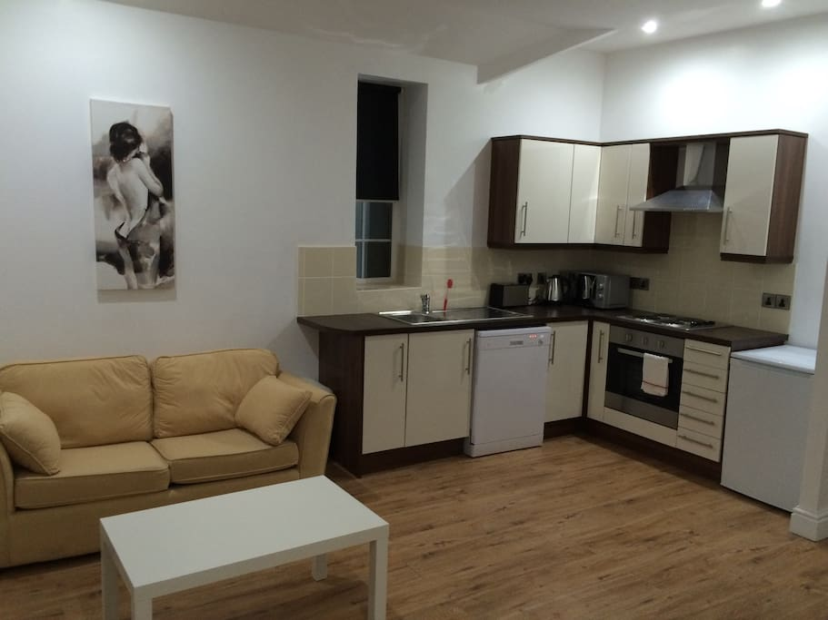 Open Plan living/kitchen area with dishwasher