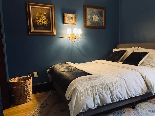 Moody second bedroom.