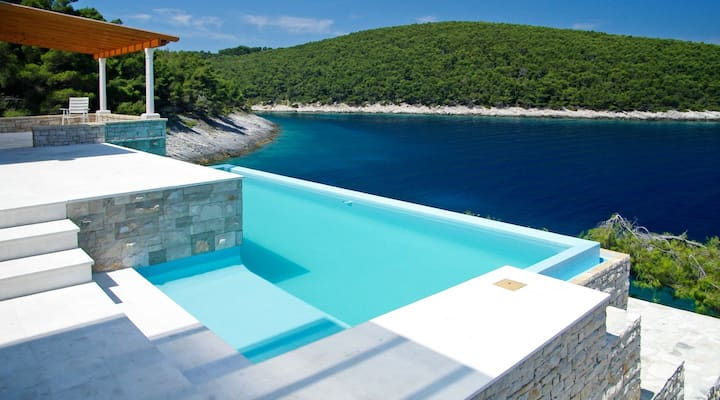 Luxury Beachfront Villa Korcula Stone Village with private pool right at the beach on Korcula island