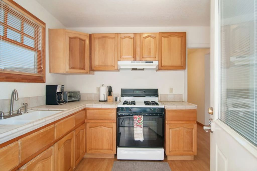 The kitchen is full equipped. W have a dishwasher and a refrigerator too.  I think you will have all the utensils needed to prepare just about any meal. If you need something special just ask as we often can accommodate special requests.