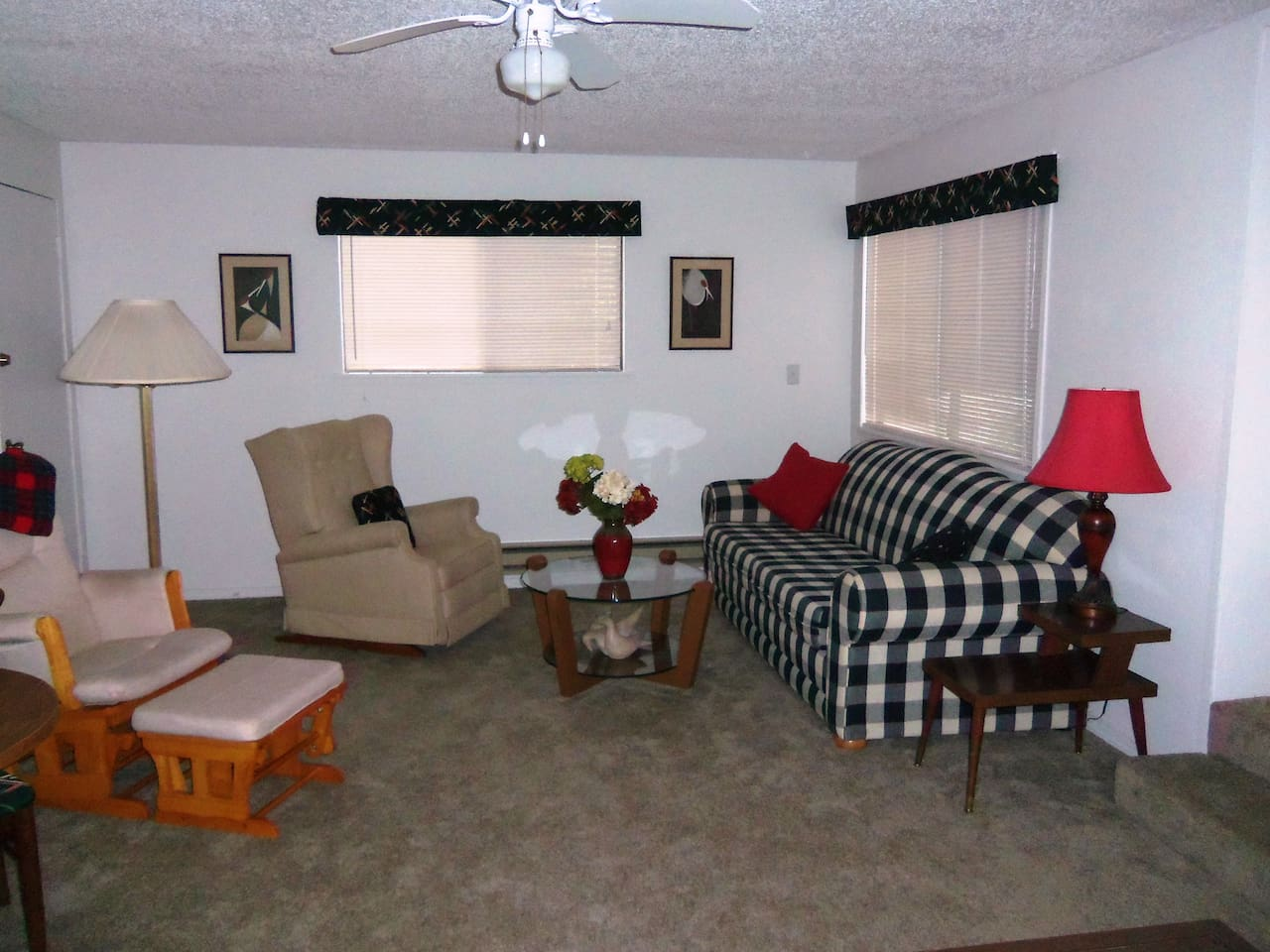 Spacious living room - West side has large sofa & two rockers...
