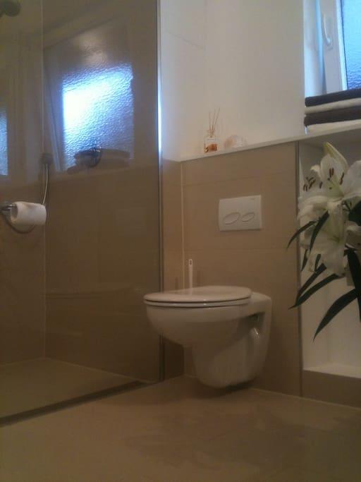 Badezimmer; ebenerdige Dusche und Glasabtrennung