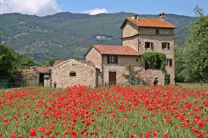 Villa sleeps 6 (+2), private pool, walk to Cortona