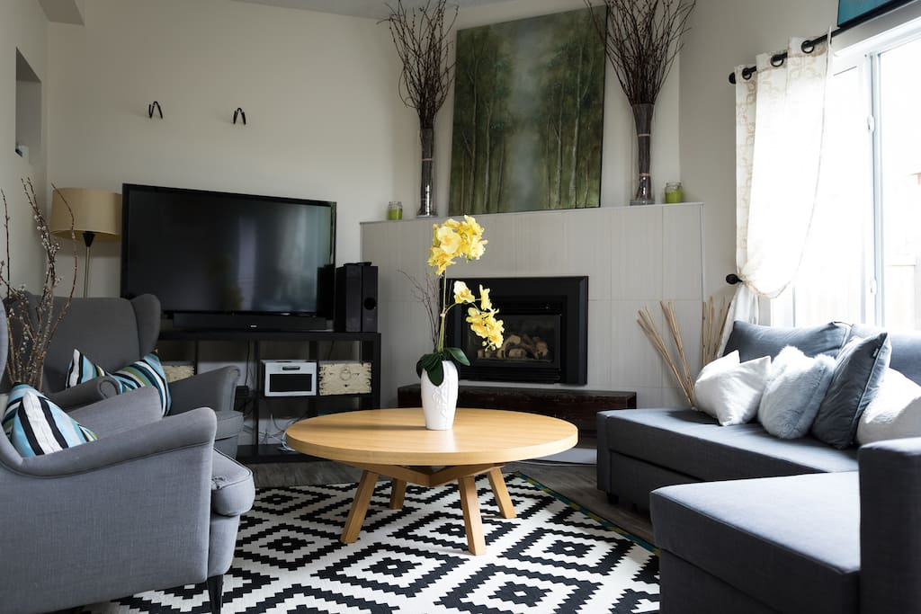 Comfortable living room with gas fire place