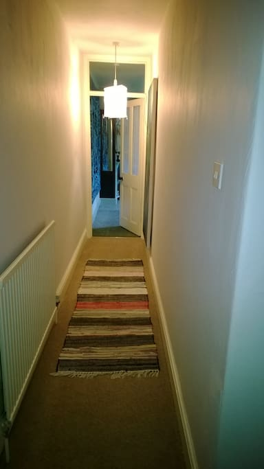 Down the corridor to your room.