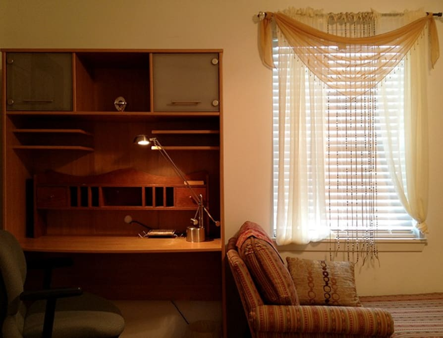 Your private bedroom also has a desk with plenty of light and wireless internet.