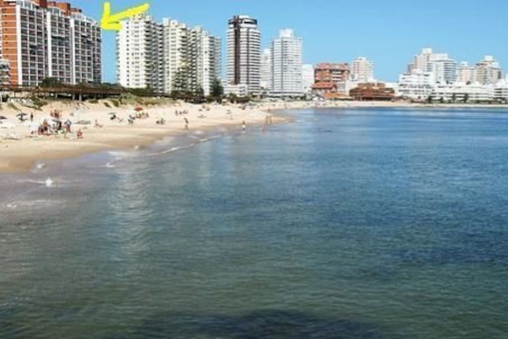 La flecha señala el edificio Vanguardia visto desde la playa
