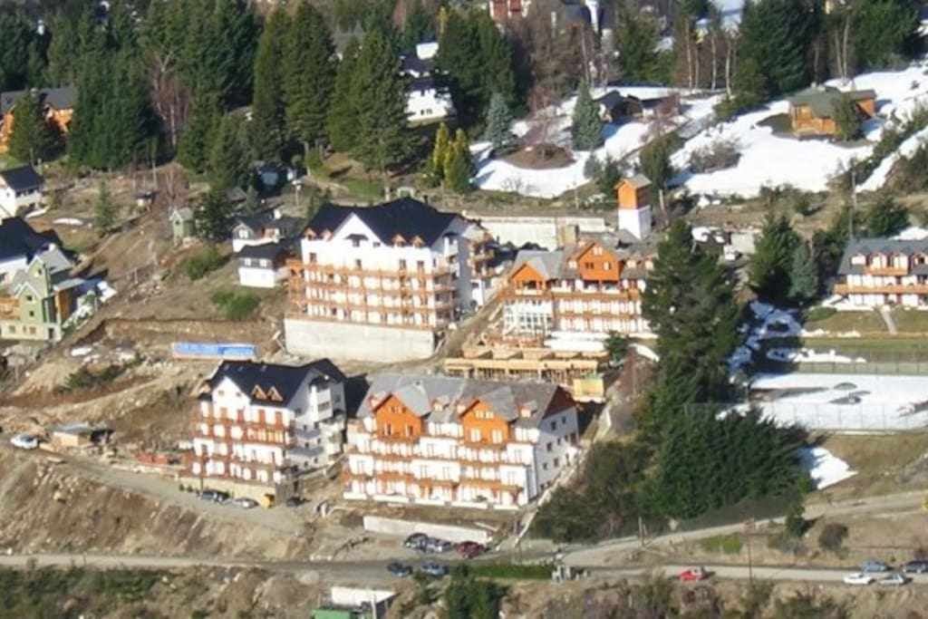 """View of the buildings """"Club del Cerro"""" from Cerro Catedral (skiing slopes)"""