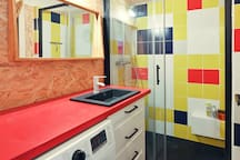 La salle de bain.