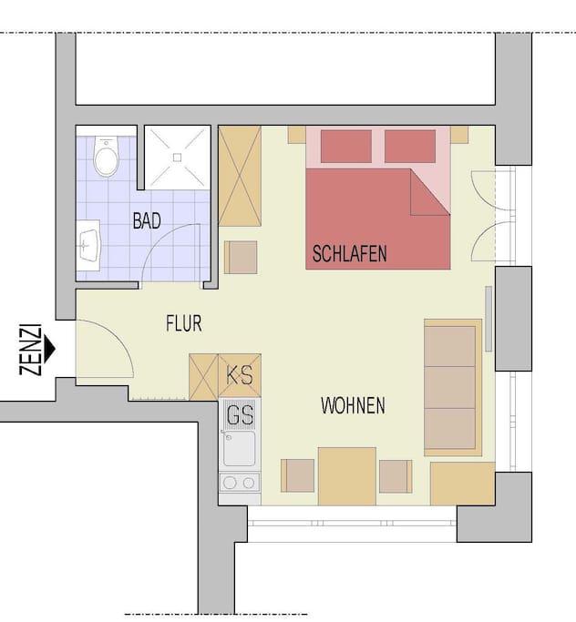 Plan der Wohnung Zenzi