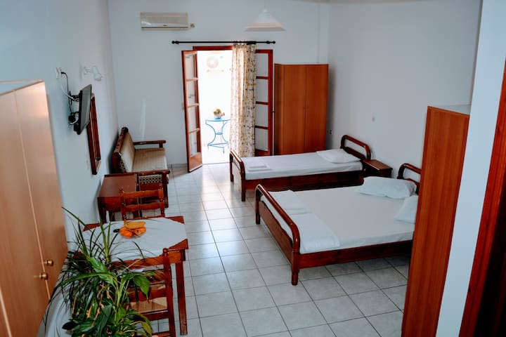 Large apartment with balcony , close to the beach