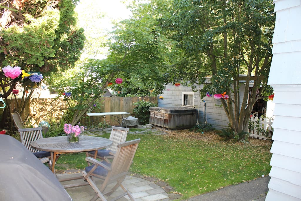 Back yard with bbq and hot tub