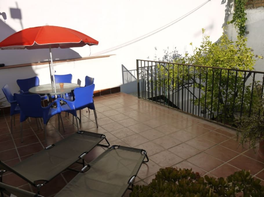 Terrace with 6 chairs and two loungers and sunshade.