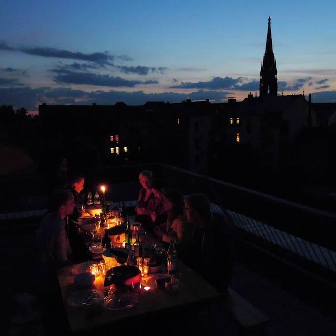 Auf der Dachterrasse...